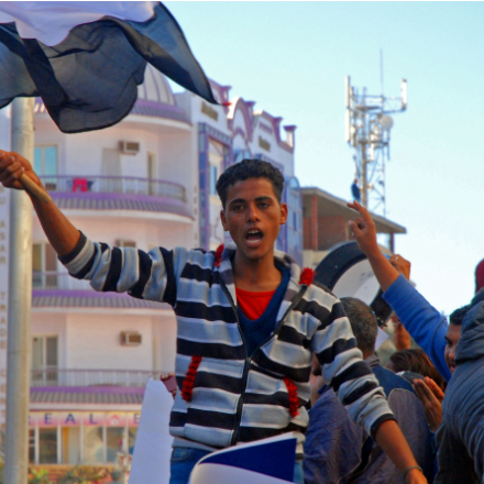 Protesters demonstrate on the streets of Hurghada, Egypt