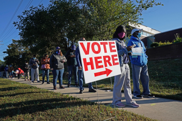 Early voters line up in Durham, N.C.