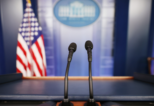 The White House Press Briefing Room sitting empty.